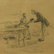 Max Liebermann, Die Witwe überreicht dem Major die Brieftasche